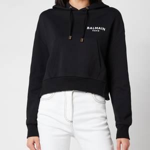 Balmain Women's Cropped Flocked Logo Detail Hoodie - Noir/Blanc