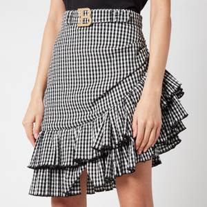 Balmain Women's Short Asymmetric Ruffled Gingham Skirt - Noir/Blanc