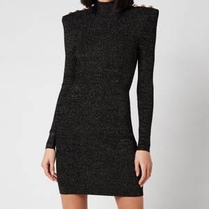 Balmain Women's Short Long Sleeve High Neck Lurex Knit Dress - Noir