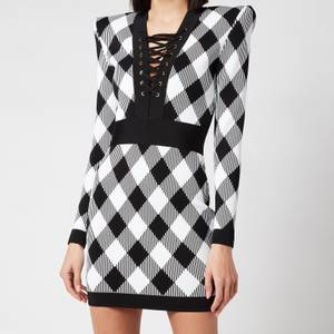 Balmain Women's Short Long Sleeve Lace Up Gingham Jacquard Dress - Noir/Blanc