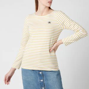 Joules Women's Harbour Print Long Sleeve Top - Cream Gold Stripe