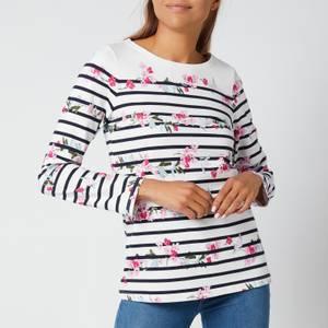 Joules Women's Harbour Print Long Sleeve Top - Créme Floral Stripe