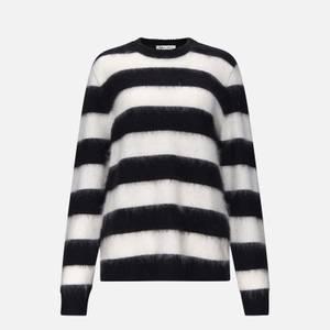 Bella Freud Women's Striped Mohair Oversized Jumper - Black/White