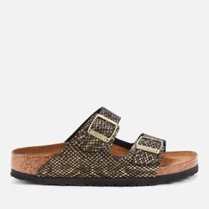 Birkenstock Women's Shiny Python Arizona Double Strap Sandals - Black/Gold