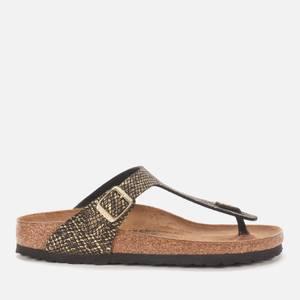 Birkenstock Women's Shiny Python Gizeh Toe-Post Sandals - Black/Gold