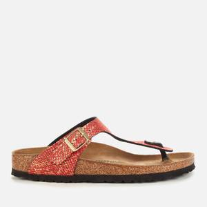 Birkenstock Women's Shiny Python Gizeh Toe-Post Sandals - Red