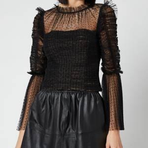 Self-Portrait Women's Dot Mesh Angel Sleeved Top - Black