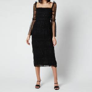 Self-Portrait Women's Black Dot Mesh Midi Dress - Black