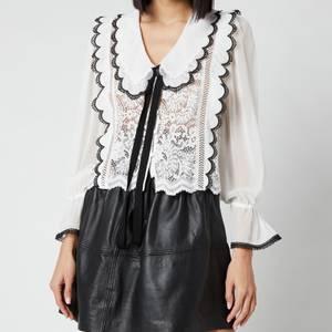 Self-Portrait Women's Cord Lace Bow Collar Shirt - White
