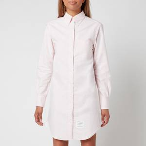 Thom Browne Women's Thigh Length L/S Point Collar Shirtdress with Gg Placket - Light Pink