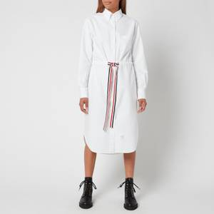 Thom Browne Women's L/S Below The Knee Shirtdress with Rwb Gg Belt - White