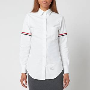 Thom Browne Women's Classic Long Sleeve Round Collar Shirt with Gg Armband - White