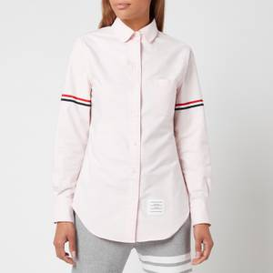 Thom Browne Women's Classic Long Sleeve Round Collar Shirt with Gg Armband - Light Pink