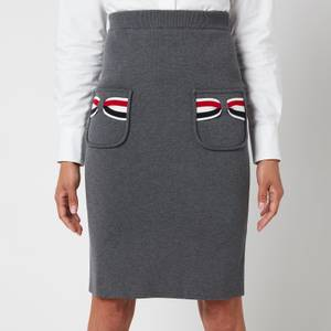 Thom Browne Women's Double Face Pencil Skirt with Rwb Bow Pockets - Med Grey