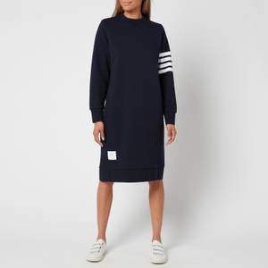 Thom Browne Women's Below Knee Sweater Dress In Classic Loop Back with Engineered 4 Bar - Navy