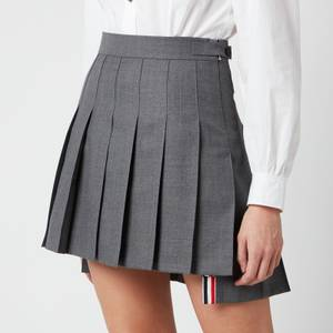 Thom Browne Women's Mini Dropped Back Pleated Skirt - Med Grey
