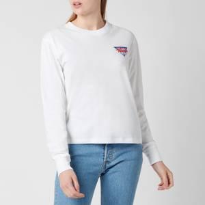 Tommy Jeans Women's Tjw Triangle Back Longsleeve Top - White