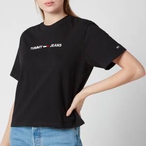 Tommy Jeans Women's Tjw Modern Linear Logo T-Shirt - Black