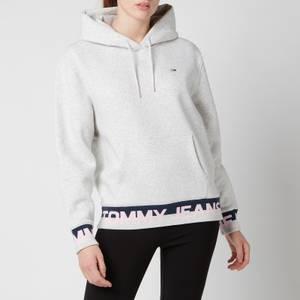 Tommy Jeans Women's Tjw Branded Hem Hoodie - Silver Grey Heather