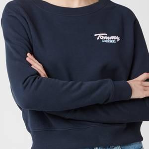 Tommy Jeans Women's Tjw Branded Back Rib Crew Sweatshirt - Twilight Navy
