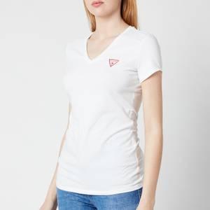 Guess Women's Short Sleeve Vn Mini Triangle T-Shirt - True White