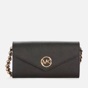MICHAEL Michael Kors Women's Carmen Large Wallet Chn Cross Body Bag - Black