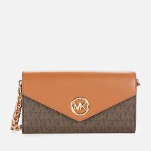 MICHAEL Michael Kors Women's Carmen Large Wallet Chn Cross Body Bag - Brown/Acorn