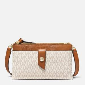MICHAEL Michael Kors Women's Mk Charm Medium Tab Phone Cross Body Bag - Vanilla/Acorn