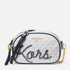 MICHAEL Michael Kors Women's Jet Set Charm Rope Sig Small Cross Body Bag - White/Navy