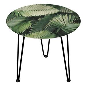 Decorsome Tropical Leaves Wooden Side Table