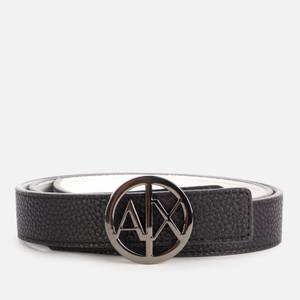 Armani Exchange Women's Round Reversible Logo Belt - Black