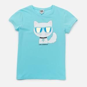 KARL LAGERFELD Girls' Choupette Short Sleeved T-Shirt - Blue