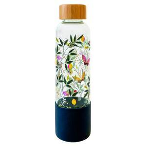 Sara Miller Floral Glass Water Bottle - White