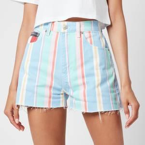 Tommy Jeans Women's Stripe Denim Shorts - Light Powdery Blue Multi