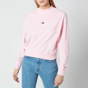 Tommy Jeans Women's TJW Pastel Velour Crew - Romantic Pink