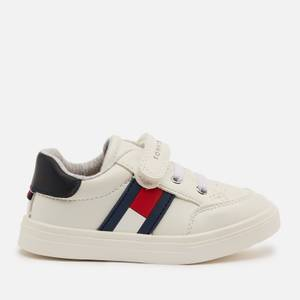 Tommy Hilfiger Toddlers' Low Cut Lace Up Velcro Strap Sneakers - White/Blue/Red