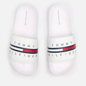 Tommy Hilfiger Boys' Flag Print Pool Sliders - White