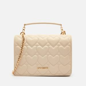 Love Moschino Women's Heart Quilt Shoulder Bag - Ivory