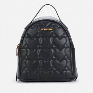 Love Moschino Women's Heart Quilt Backpack - Black