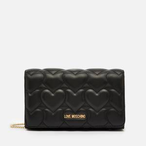 Love Moschino Women's Heart Quilt Chain Bag - Black