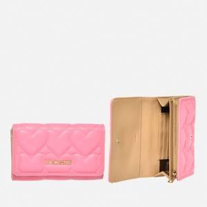 Love Moschino Women's Heart Quilt Small Zip Wallet - Rose