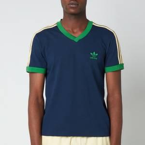 adidas X Wales Bonner Men's 70S V-Neck T-Shirt - Night Indigo/Prime Green