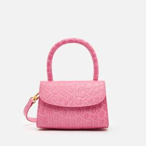 BY FAR Women's Mini Circular Croco Top Handle Bag - Fuchsia