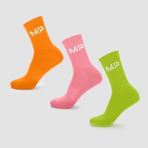 MP Men's Neon Brights Crew Socks (3 Pack) Orange/Lime/Rose