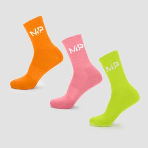 MP Men's Neon Brights Crew Socks (3 Pack) Orange/Lime/Rose