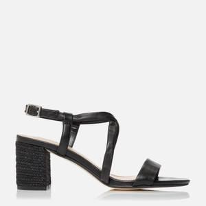Dune Women's Jazzi Leather Block Heeled Sandals - Black