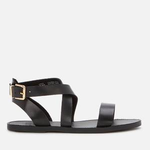 Dune Women's Leelah Leather Flat Sandals - Black