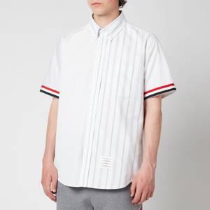 Thom Browne Men's Point Collar Stripe Cuff Short Sleeve Shirt - White