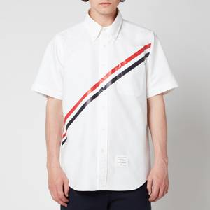 Thom Browne Men's Printed Diagonal Stripe Short Sleeve Oxford Shirt - White