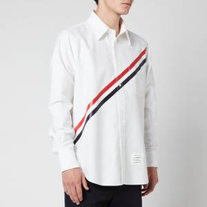 Thom Browne Men's Printed Diagonal Stripe Oxford Shirt - White